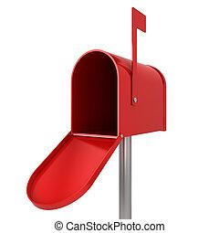 Empty mailbox. 3d illustration isolated on white background