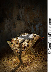 Empty Manger With Cross Shadow - Empty manger with shadow of...