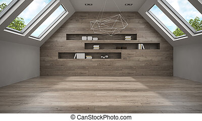 Empty mansard room with shelfs 3D rendering