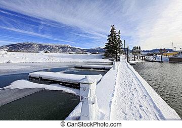 Empty Marina with snow on Lake Tahoe