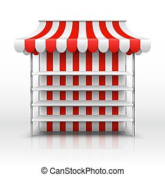 Empty market stall. Kiosk with striped awning vector template