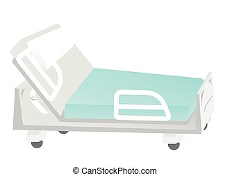 Empty medical bed vector cartoon illustration.