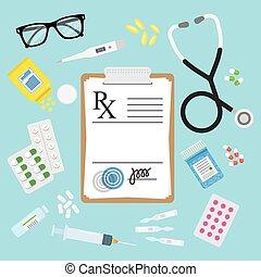 Empty medical prescription Rx form and pills