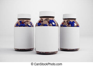 Empty medicine bottle - Medical pill capsule bottle with...