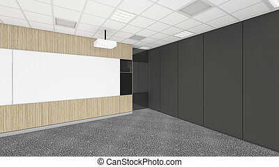 empty meeting conference room in office corporate with black space, 3d render interior design, mock up illustration