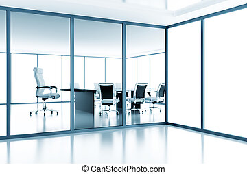 Empty meeting room behind a glass partition in modern...