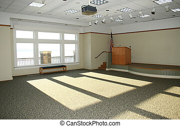 Empty Meeting Room - Large empty meeting room with stage,...