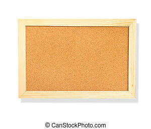 Empty memo cork board isolated on white background