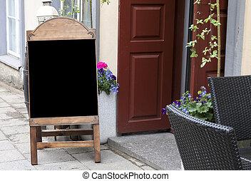 Empty menu blackboard to ad text
