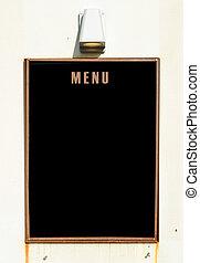 Empty menu board on wall