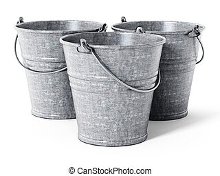 Empty metal bucket isolated on white background. 3D illustration