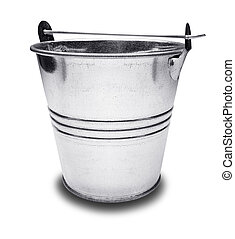 Empty metal bucket on a white background
