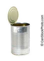 empty metal food can with top