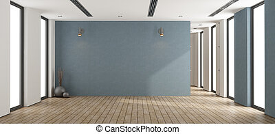 Empty minimalist room with blue wall, glass door and windows - 3d rendering