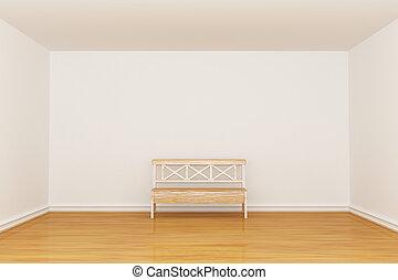 Empty minimalist interior with bench
