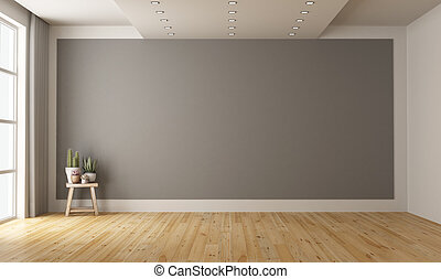 Empty minimalist room with gray wall on background