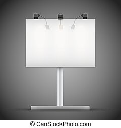 Empty mockup billboard with spotlights and illuminated at ...