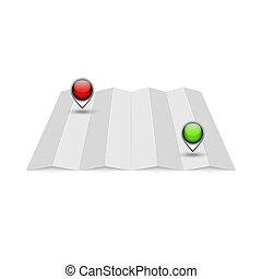 Empty mockup for a terrain map with two red and green location pins for get directions, an accordion folded by a realistic sheet of paper isolated on white, blank template