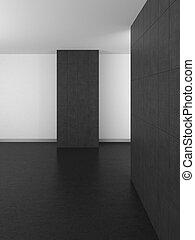 empty modern bathroom with gray tiles and dark floor