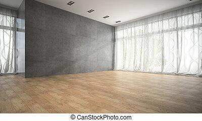 Empty modern design room with parquet floor 3D rendering 2
