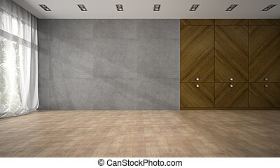 Empty modern design room with wooden closet 3D rendering