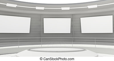 Empty modern futuristic room with white panels