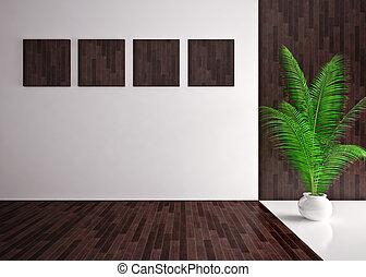 empty modern interior, Banner on wall