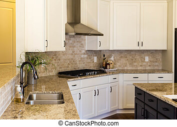 Empty Modern Kitchen - Modern empty kitchen with granite...