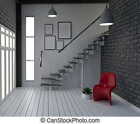 Empty, Modern loft style living interior design. 3d rendering