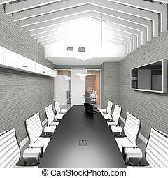 Empty modern office interior meeting room