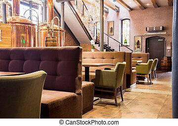 Empty modern restaurant interior