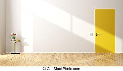 Empty modern room with door