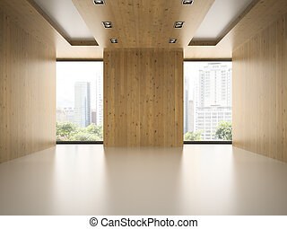 Empty modern room with wooden wall 3D rendering