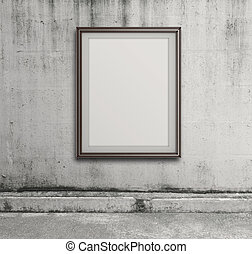 empty modern style frame on grunge wall as concept