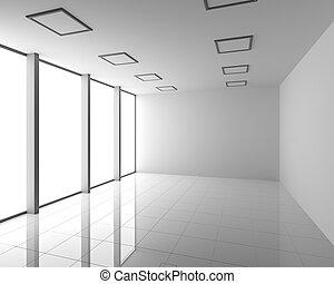 Empty Modern White Interior with Big Windows