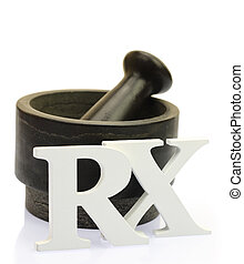 Empty mortar and pestle with white wooden RX letters...