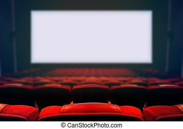 Empty movie cinema with blank white screen