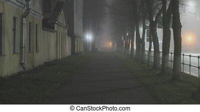 empty mysterious foggy city street at night.
