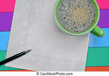 Empty napkin with coffee cup
