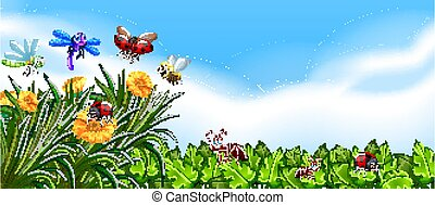 Empty nature background with many different insects illustration