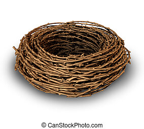 Empty nest as a symptome of children growing up and leaving the family house as a result the parents feel sad and lonely as a vacant single bird nest made of twigs on a white background.