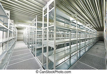 empty new modern shelves in warehouse