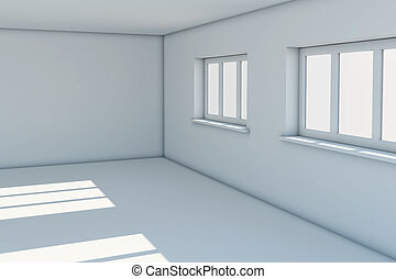 Empty new room with windows
