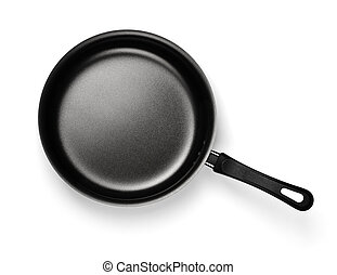 Empty nonstick frying pan - Top view of new empty nonstick ...