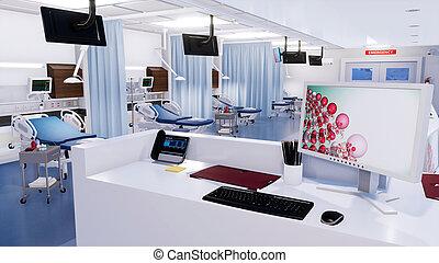 Empty nurses station in emergency room interior 3D -...