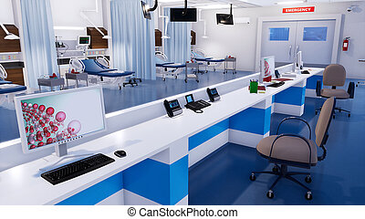 Empty nurses station in emergency room of clinic - Close-up...