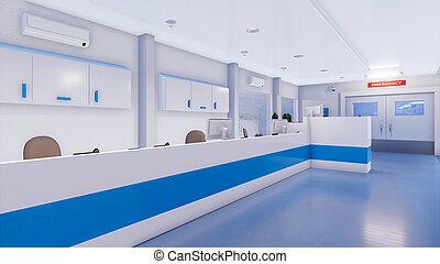 Empty nurses station in hospital emergency room - Empty...