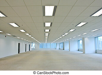 Empty of of business building with lights