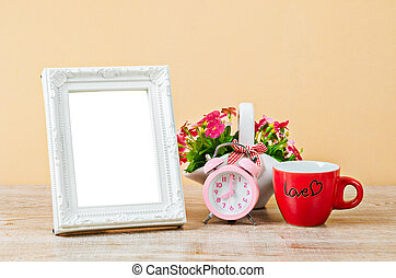 Empty of old style antique wooden white photo frame.