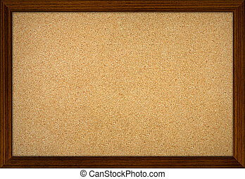 Empty office cork notice board with wood frame - Empty...